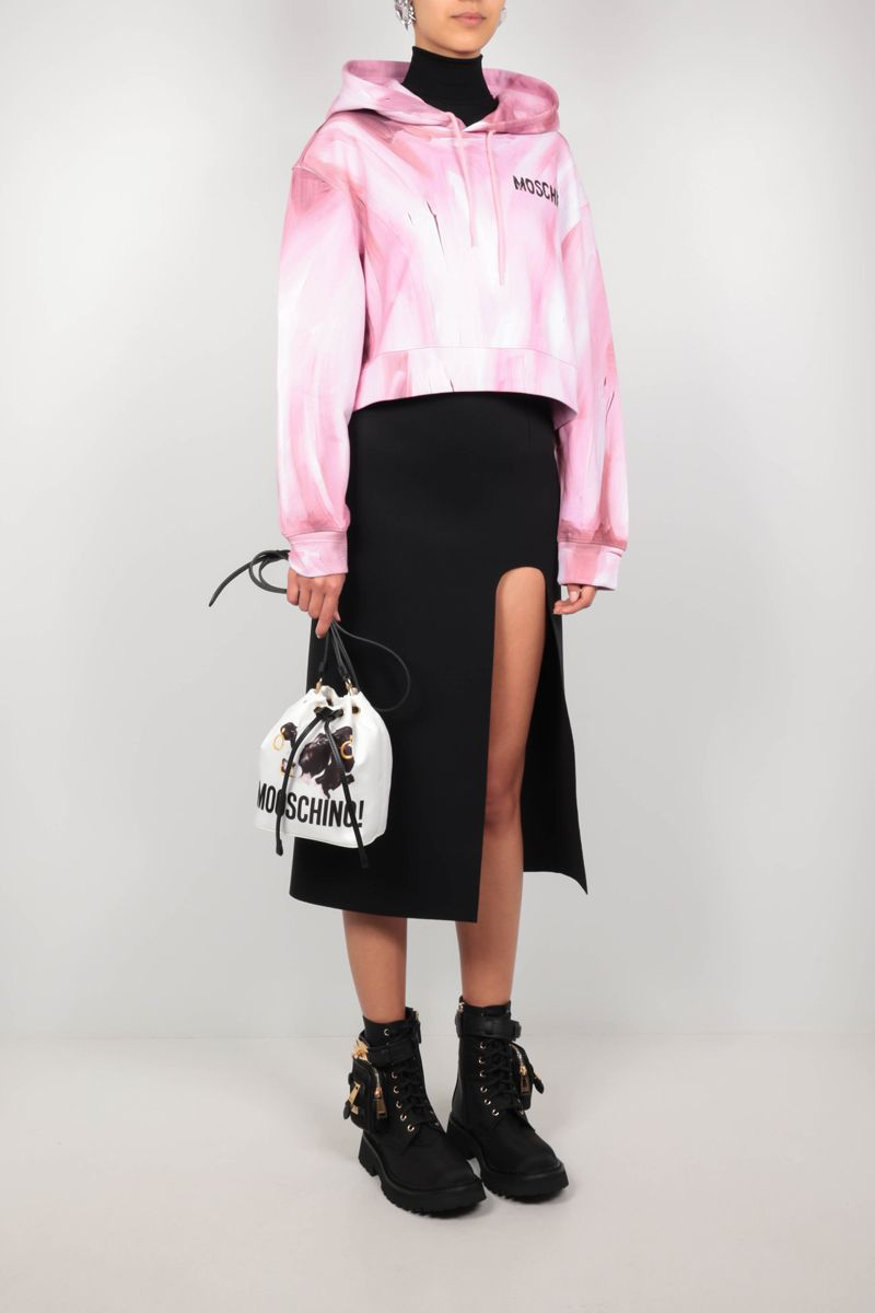MOSCHINO: felpa cropped Painting in cotone Colore Rosa_2