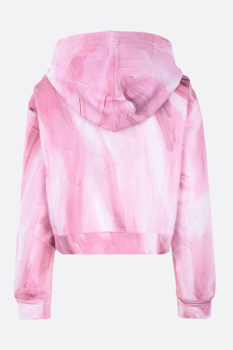 MOSCHINO: Painting cropped cotton hoodie Color Pink_2