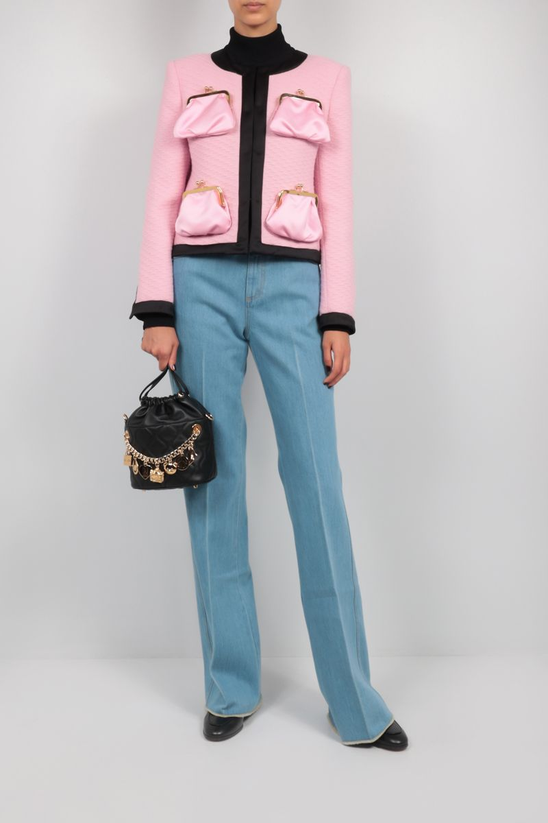 MOSCHINO: Purse Pockets single-breasted wool jacket Color Pink_2