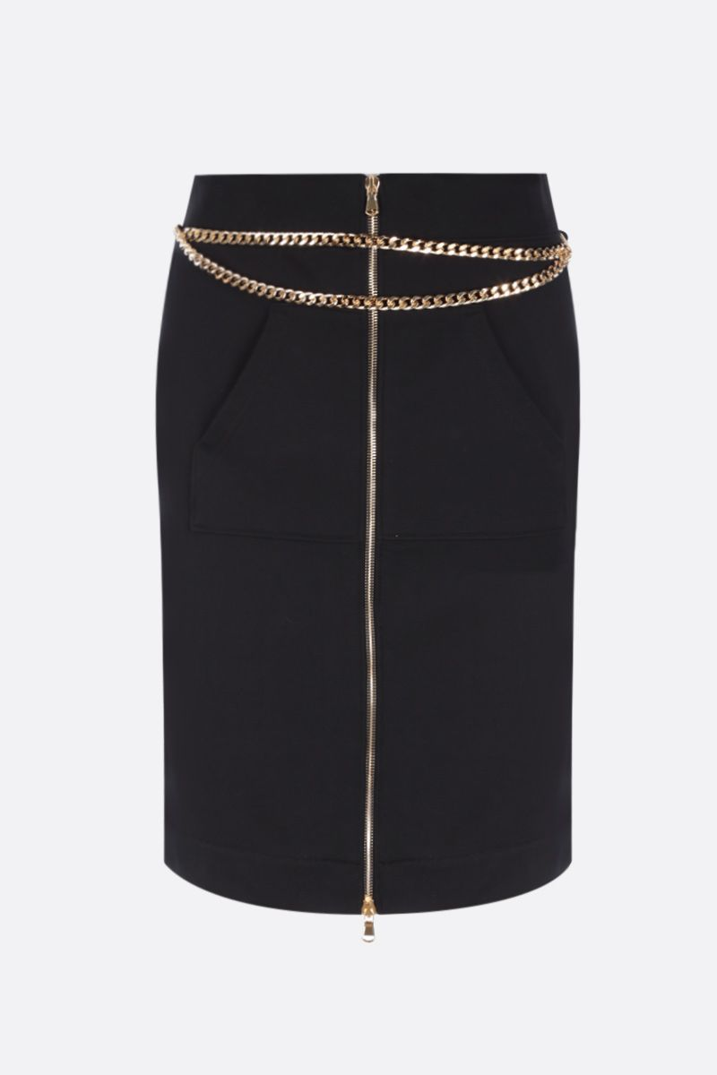 MOSCHINO: chain-detailed full-zip jersey skirt Color Black_1