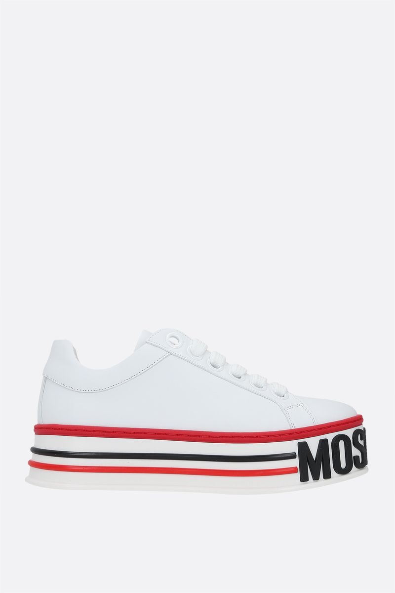MOSCHINO: Cassetta smooth leather flatform sneakers Color White_1
