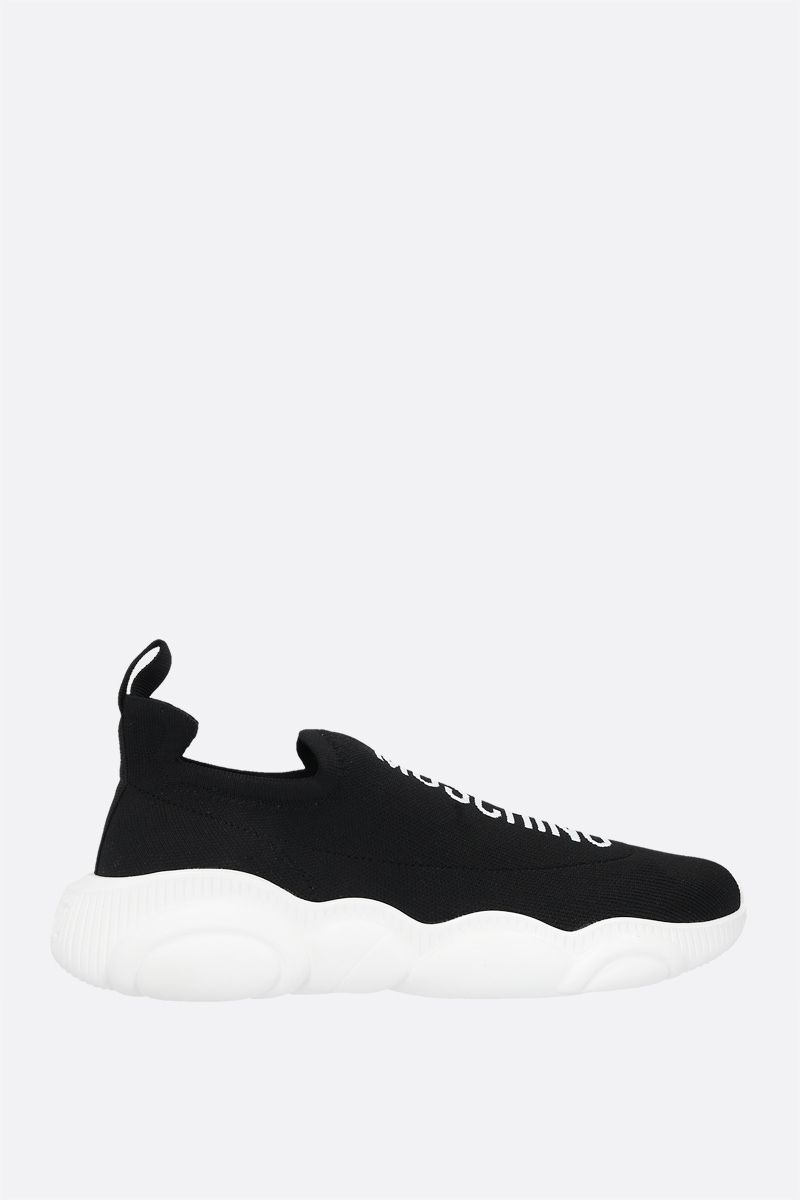 MOSCHINO: Teddy Run stretch knit slip-on sneakers Color Black_1