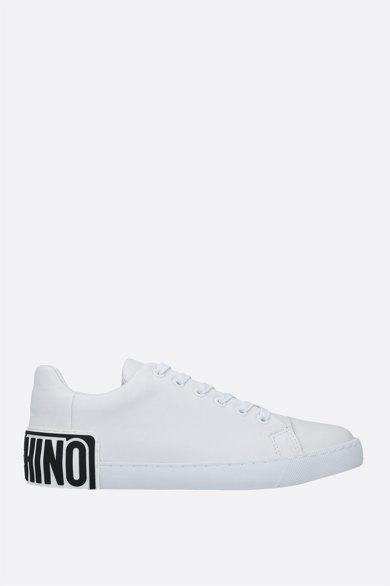 MOSCHINO: logo-detailed smooth leather sneakers Color White_1