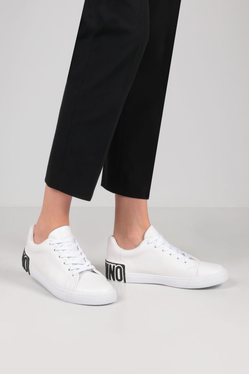 MOSCHINO: logo-detailed smooth leather sneakers Color White_2