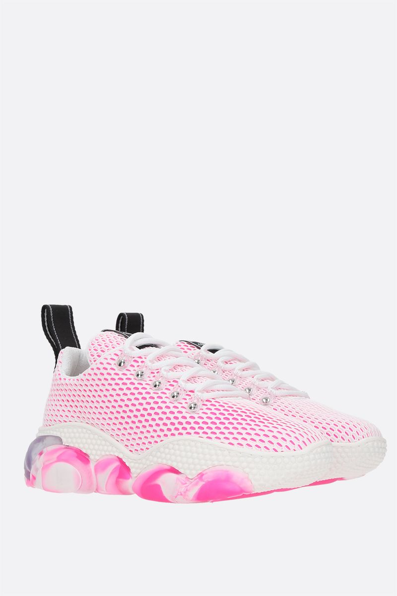 MOSCHINO: Bubble mesh and neoprene sneakers Color White_2