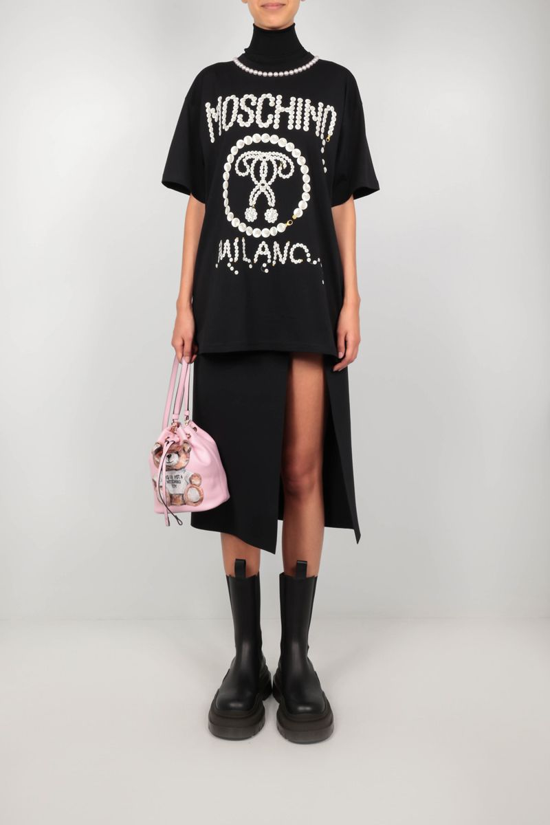 MOSCHINO: Double Question Mark pearl-detailed oversize cotton t-shirt Color Black_2