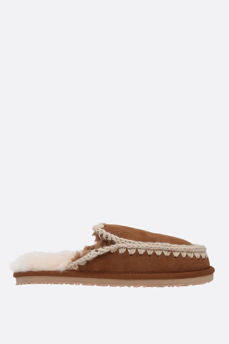 MOU: Full Eskimo suede slippers Color Brown_1