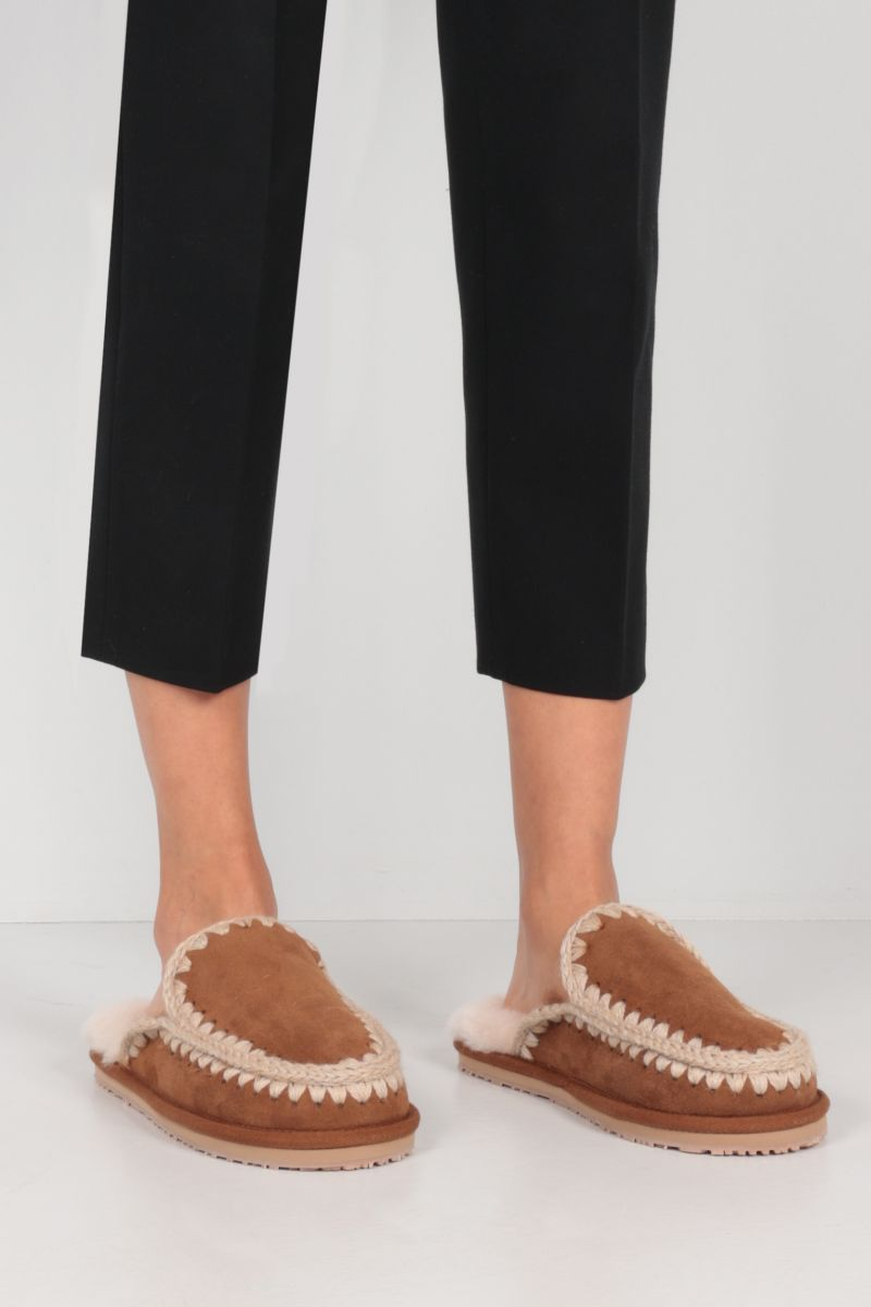 MOU: Full Eskimo suede slippers Color Brown_2