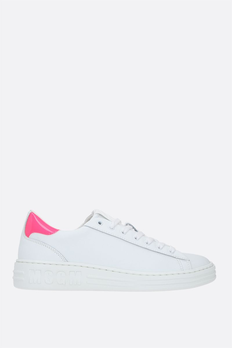 MSGM: logo patch smooth leather sneakers Color Multicolor_1