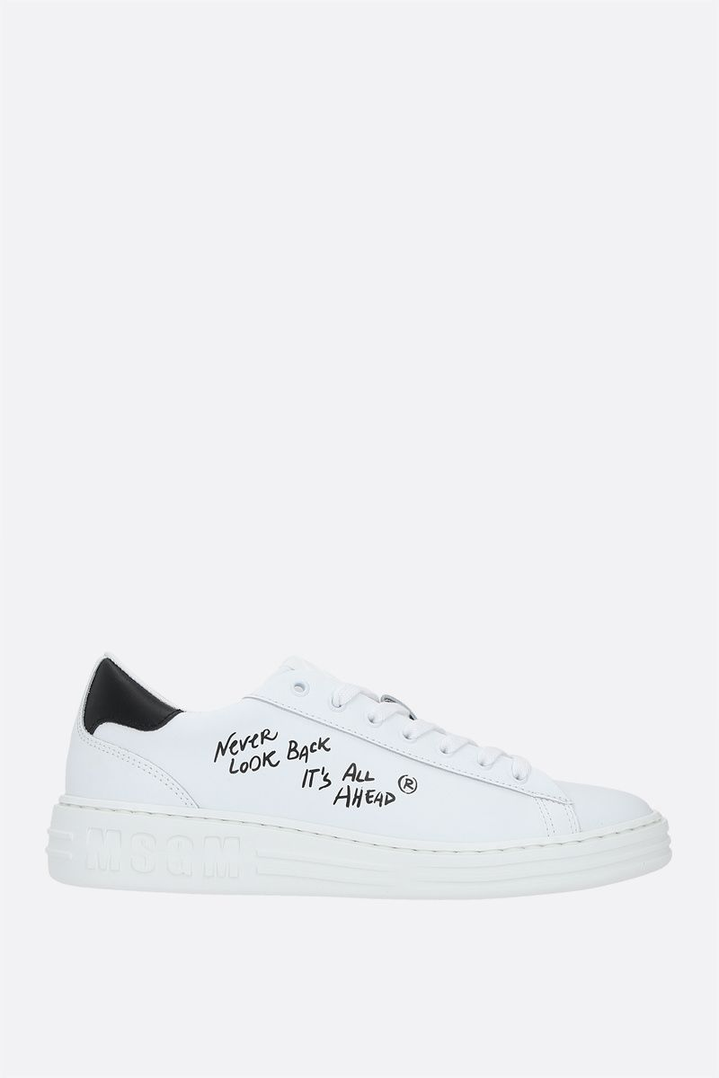 MSGM: text print smooth leather sneakers Color White_1