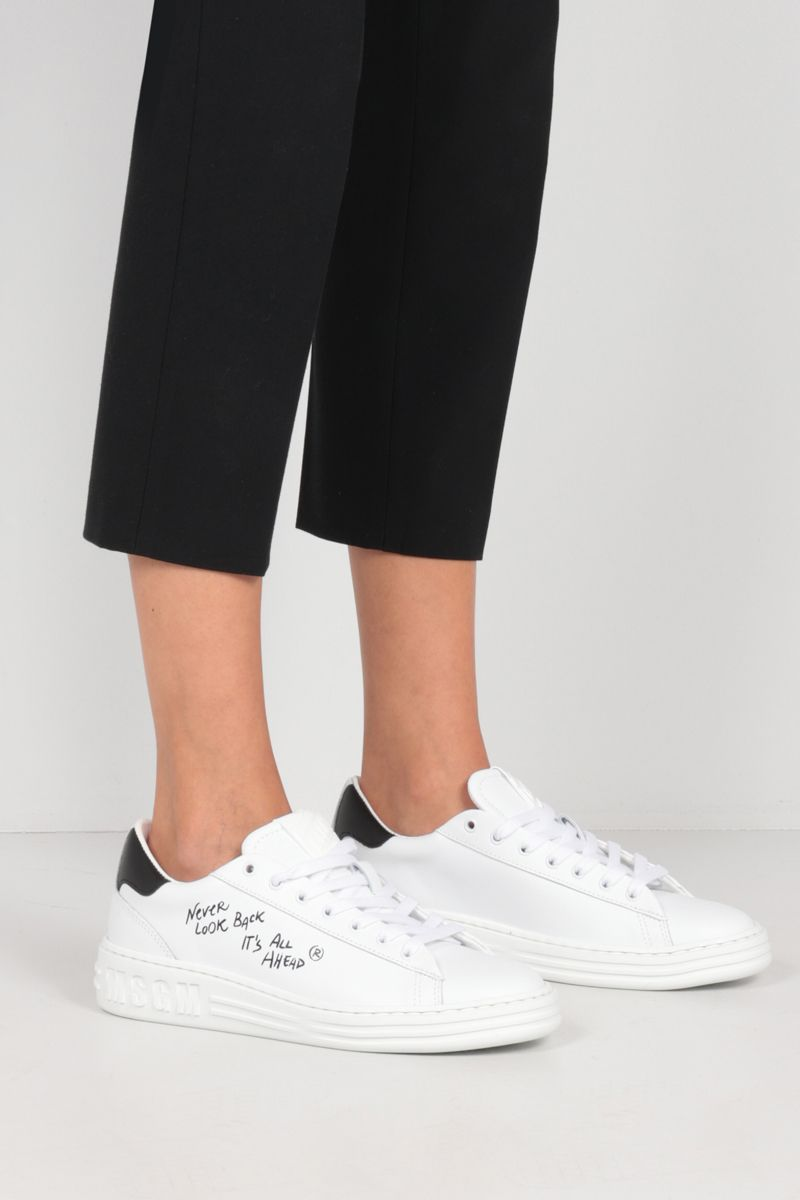 MSGM: text print smooth leather sneakers Color White_2