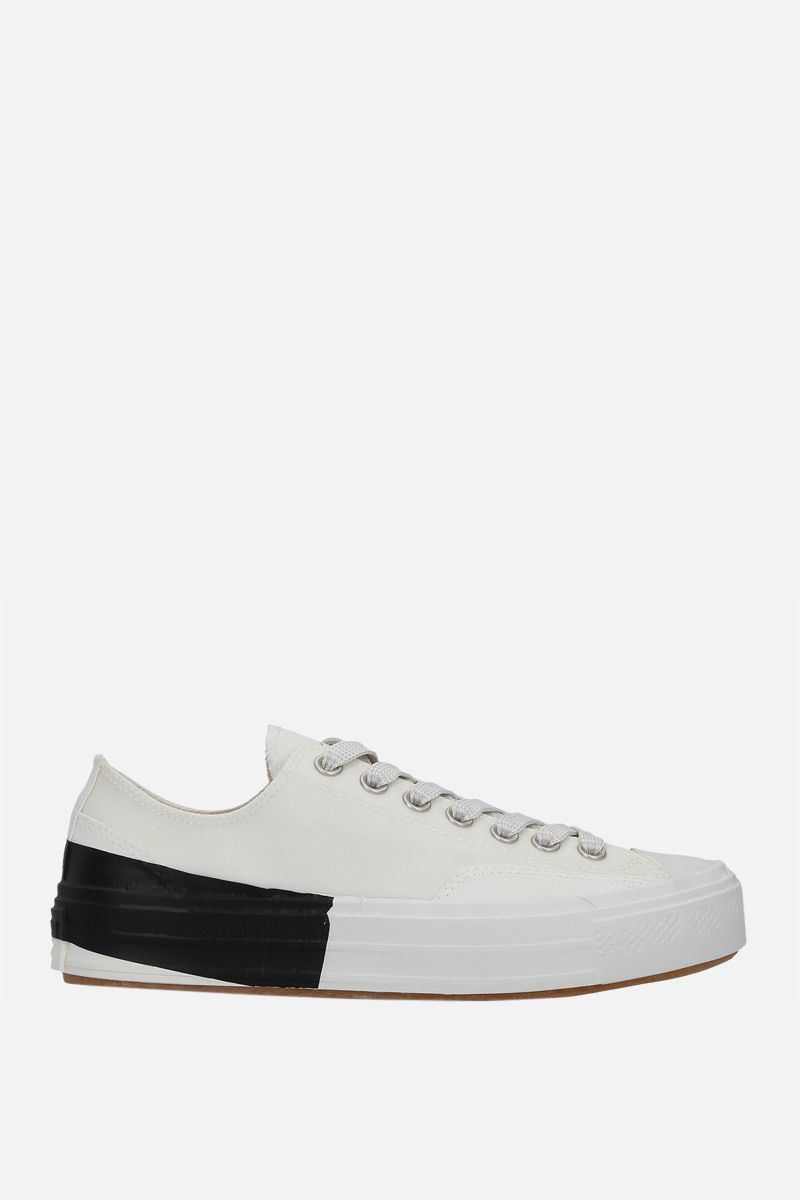 MSGM: Tape Vulcanized Cupsole coated canvas sneakers Color White_1