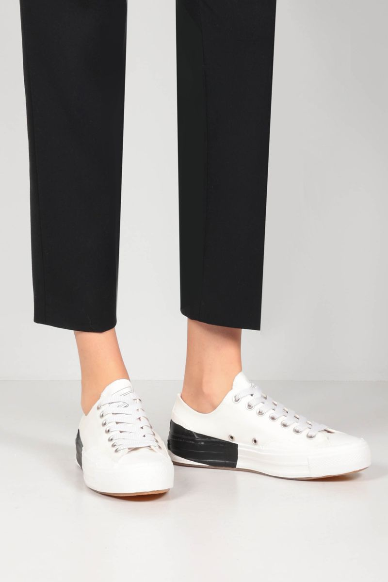 MSGM: Tape Vulcanized Cupsole coated canvas sneakers Color White_2