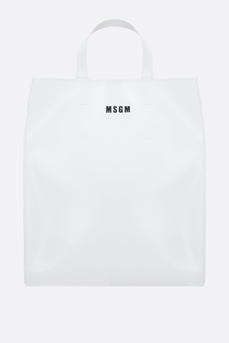 MSGM: logo print smooth leather tote bag Color White_1
