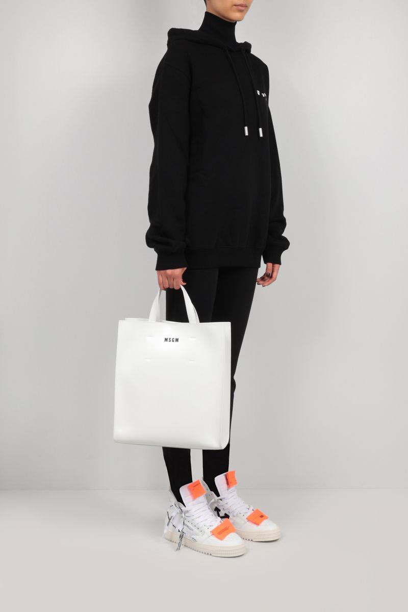 MSGM: logo print smooth leather tote bag Color White_2