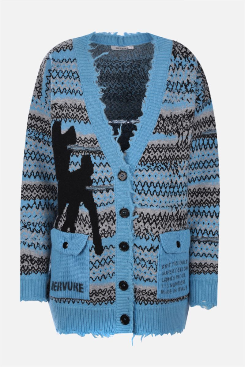 NERVURE: oversize graphic intarsia wool cardigan Color Blue_1