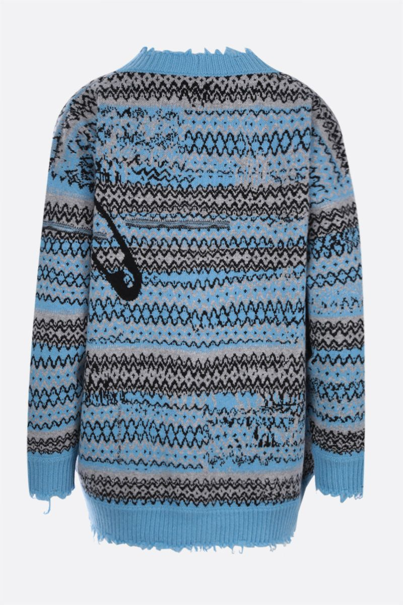 NERVURE: oversize graphic intarsia wool cardigan Color Blue_2