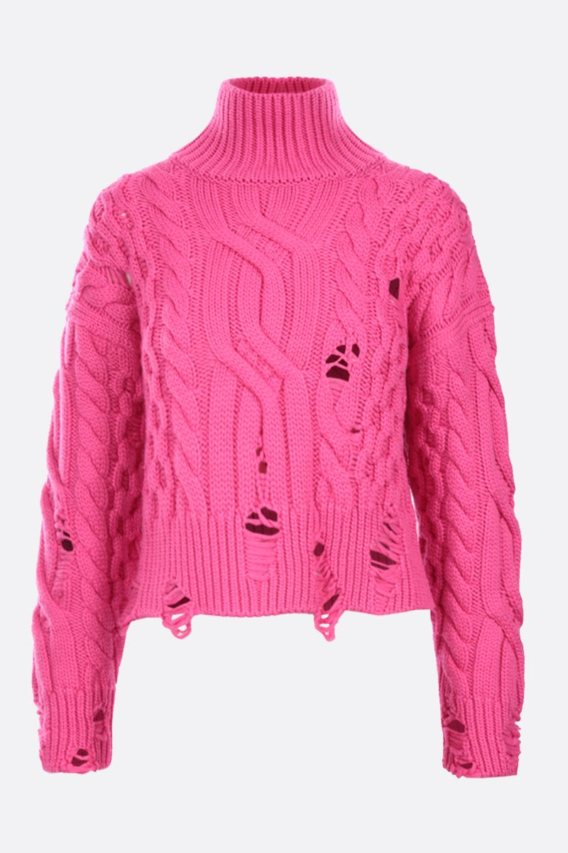 NERVURE: destroyed-effect cropped wool pullover Color Pink_1