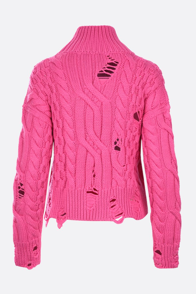 NERVURE: destroyed-effect cropped wool pullover Color Pink_2