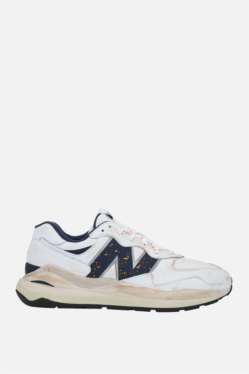 NEW BALANCE: 57/40 vintage leather sneakers Color White_1