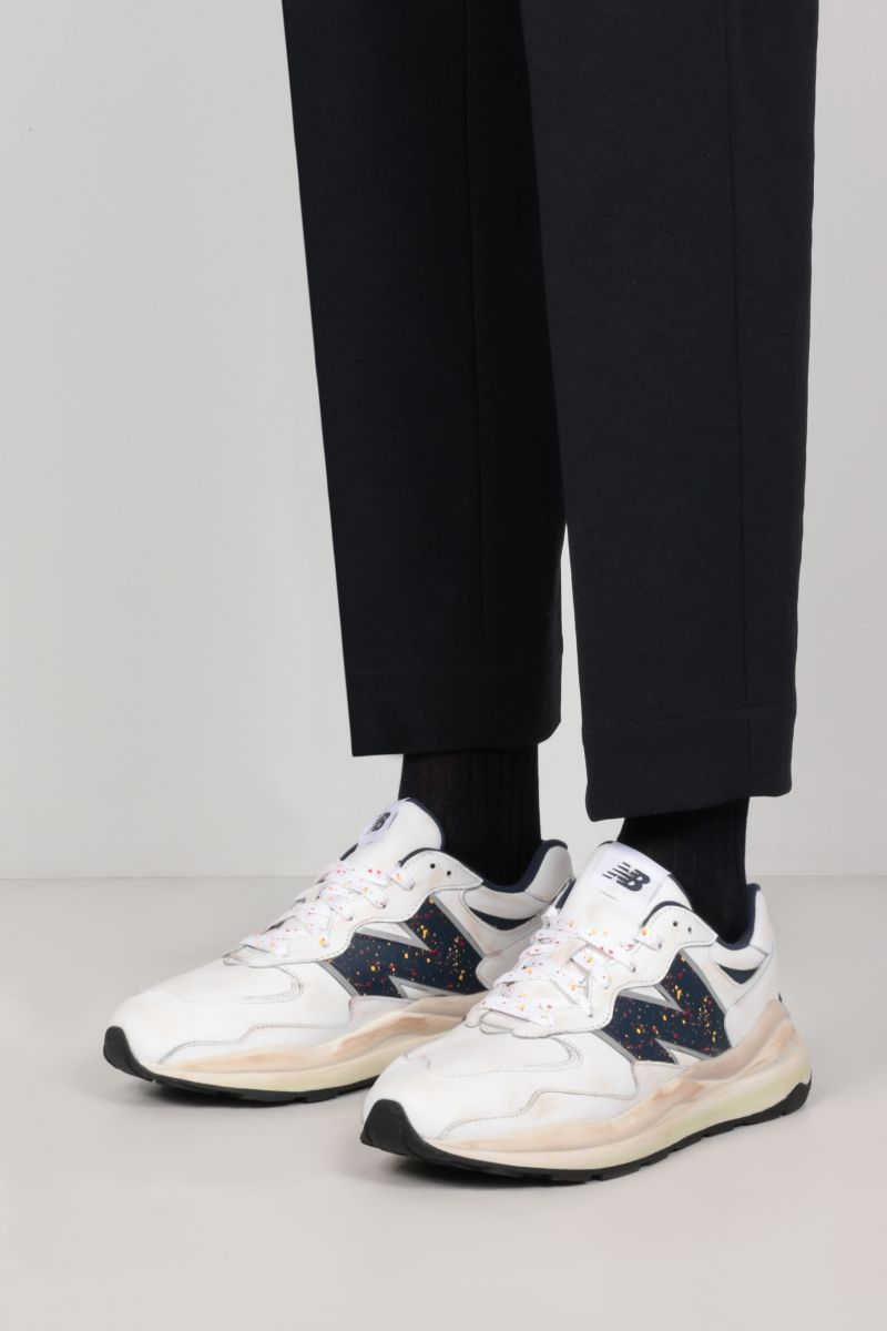 NEW BALANCE: 57/40 vintage leather sneakers Color White_2