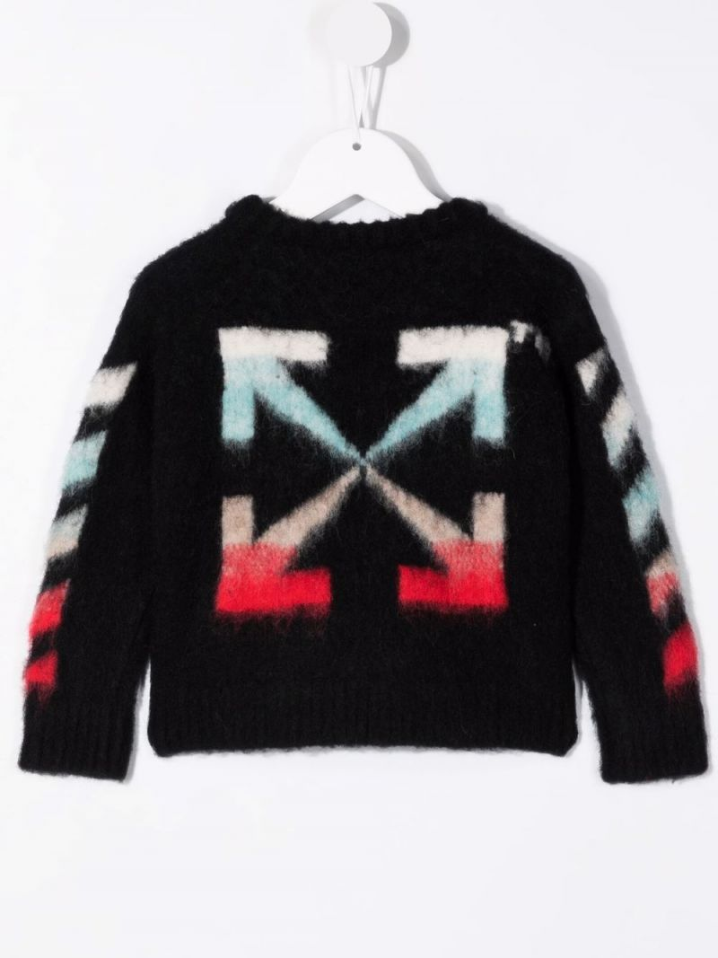 OFF WHITE KIDS: logo patch wool blend pullover Color Black_2