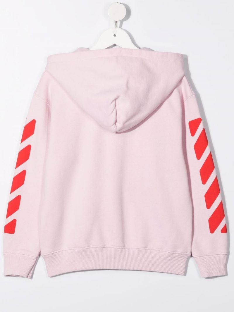 OFF WHITE KIDS: OFF print full-zip cotton hoodie Color Pink_2