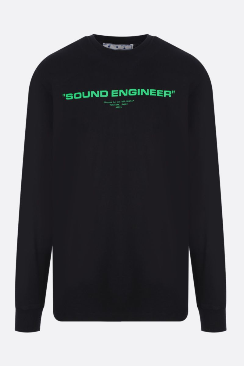 OFF WHITE: t-shirt a maniche lunghe Sound Engineering in cotone Colore Black_1