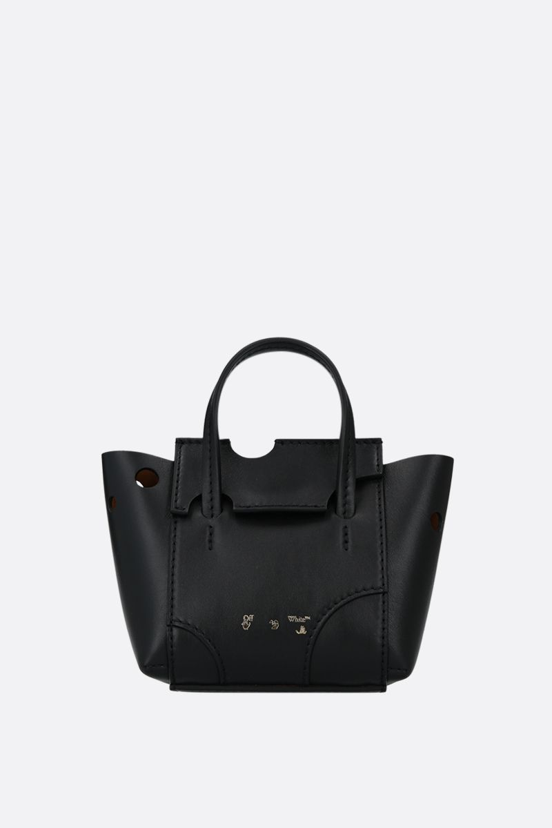 OFF WHITE: Burrow 16 smooth leather tote bag Color Black_1