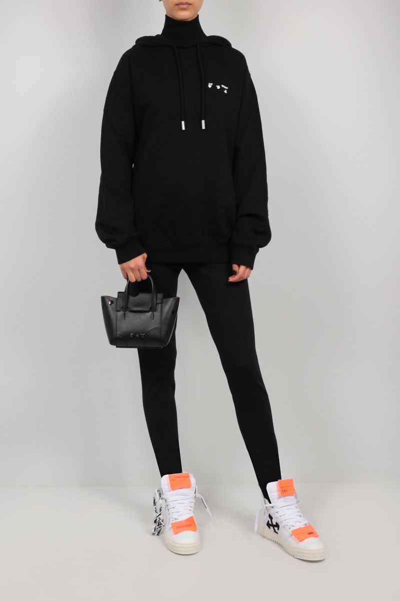 OFF WHITE: Burrow 16 smooth leather tote bag Color Black_2