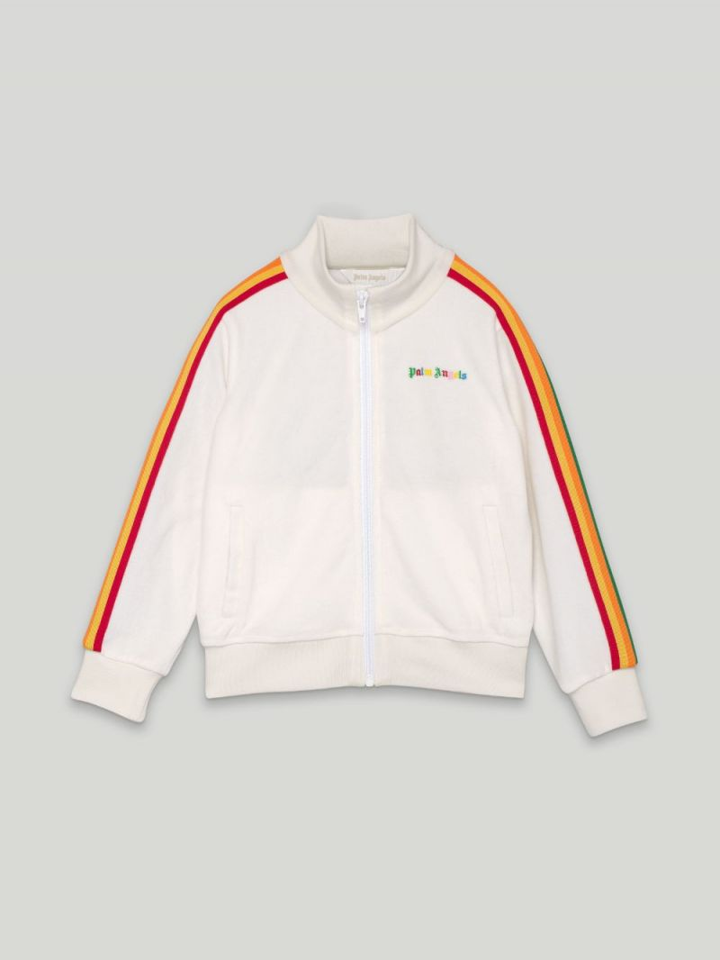 PALM ANGELS KIDS: technical jersey track jacket Color White_2
