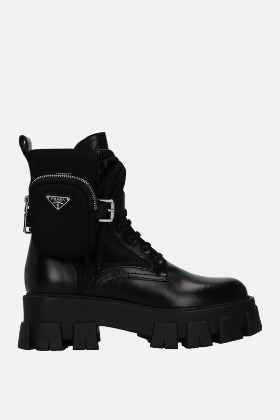 PRADA: Monolith rois brushed leather and Re-Nylon combat boots Color Black_1