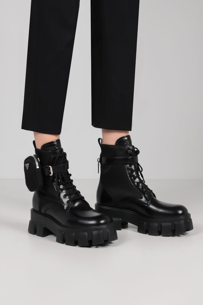 PRADA: Monolith rois brushed leather and Re-Nylon combat boots Color Black_2