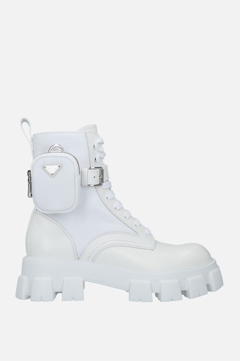 PRADA: Monolith brushed leather and Re-Nylon combat boots Color White_1