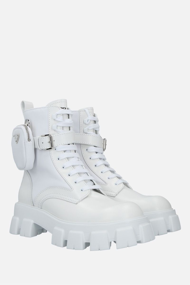 PRADA: Monolith brushed leather and Re-Nylon combat boots Color White_2