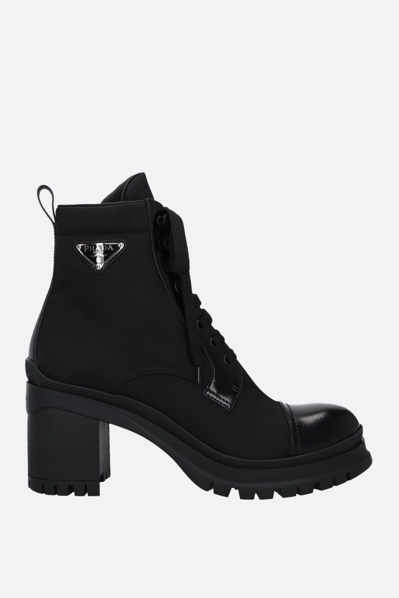 PRADA: Re-Nylon and brushed leather ankle boots Color Black_1