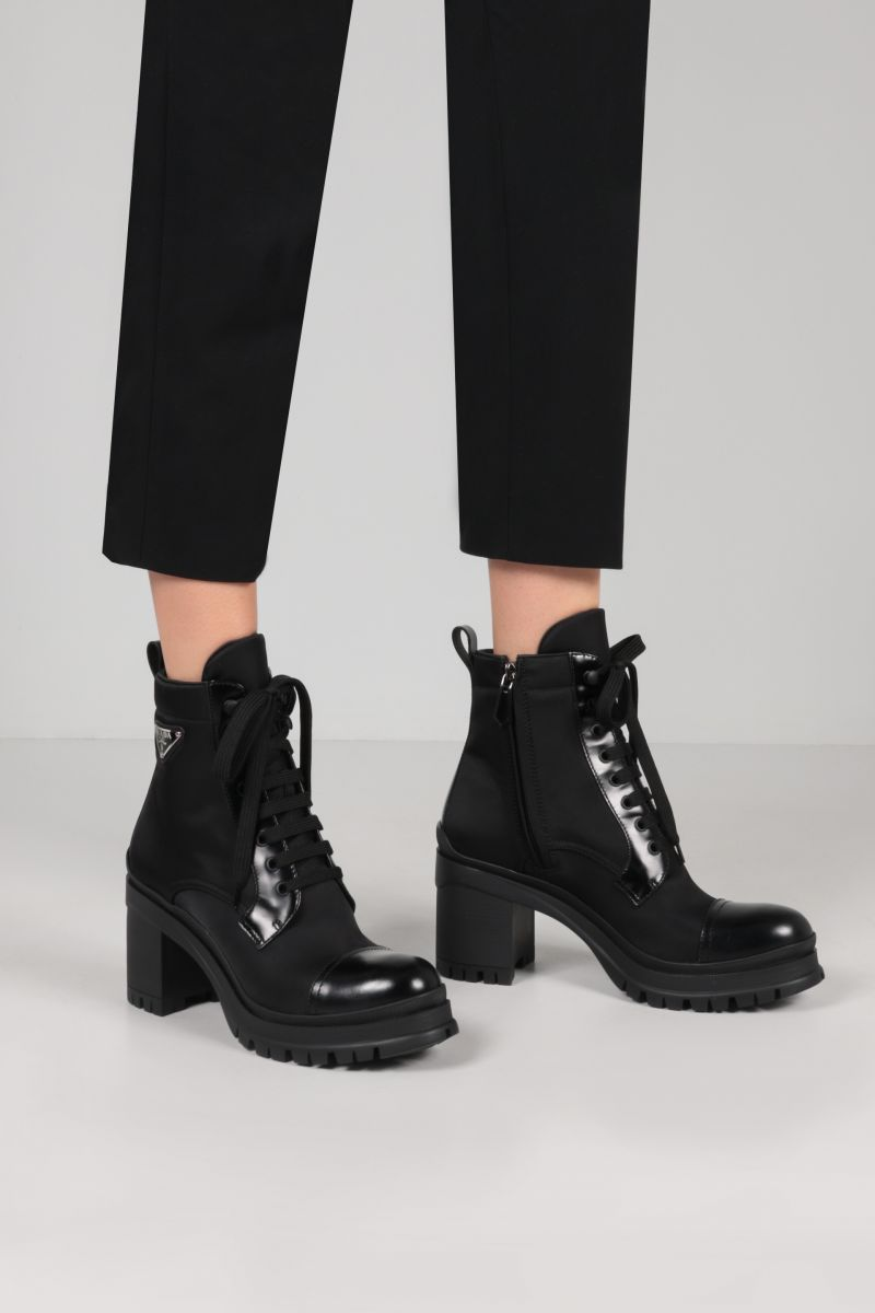 PRADA: Re-Nylon and brushed leather ankle boots Color Black_2