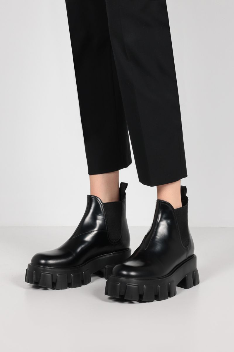 PRADA: Monolith rois brushed leather chelsea boots Color Black_2