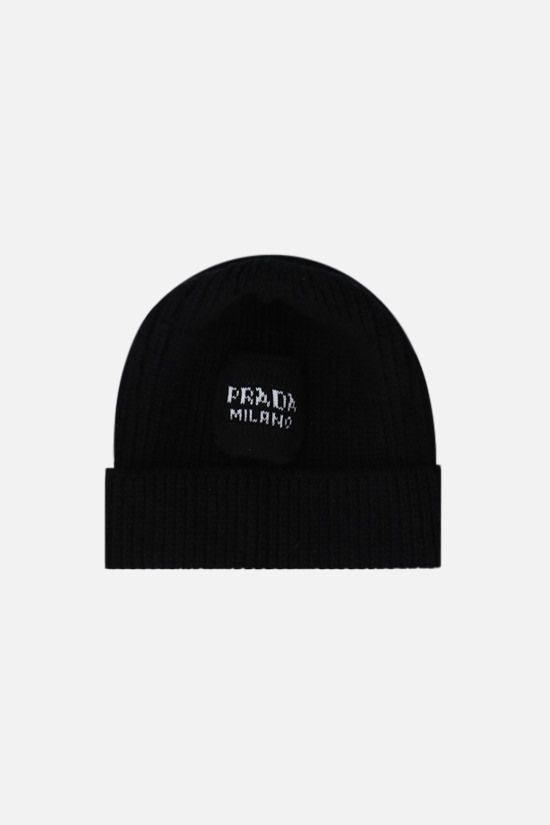 PRADA: wool cashmere blend ribbed-knit beanie Color Black_1
