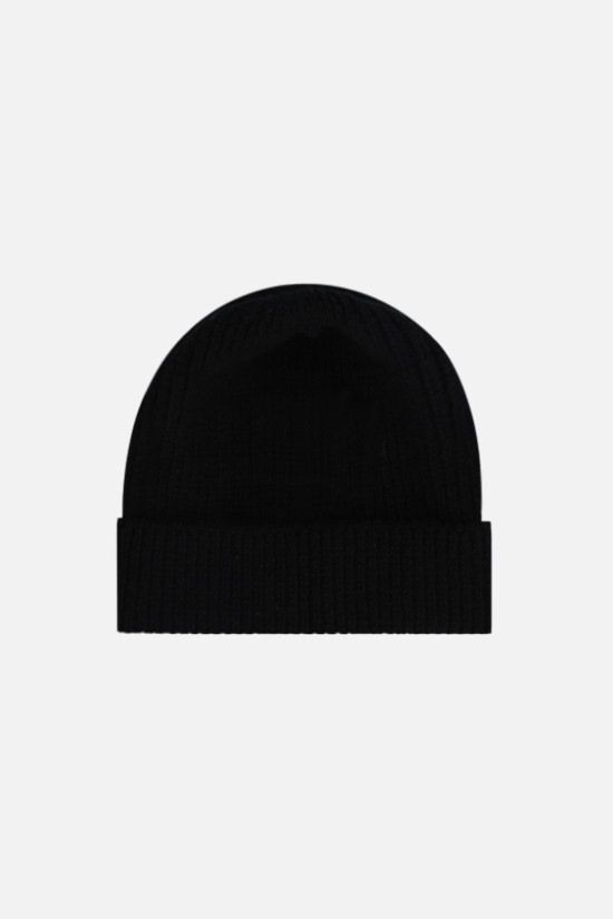 PRADA: wool cashmere blend ribbed-knit beanie Color Black_2