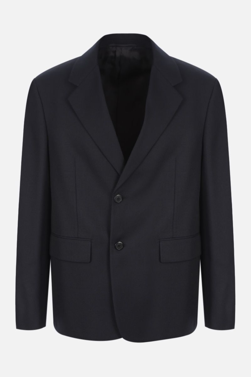 PRADA: single-breasted wool blend jacket with triangle patch Color Blue_1