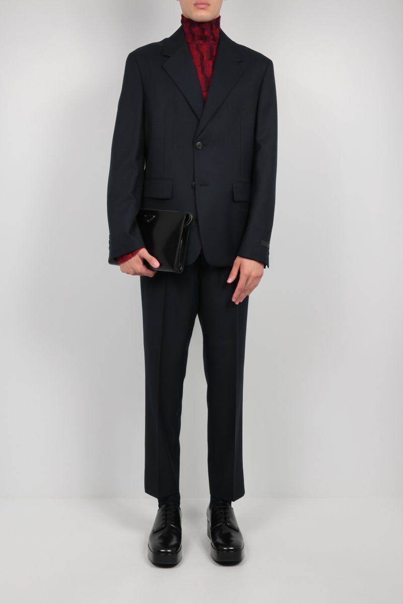 PRADA: single-breasted wool blend jacket with triangle patch Color Blue_2