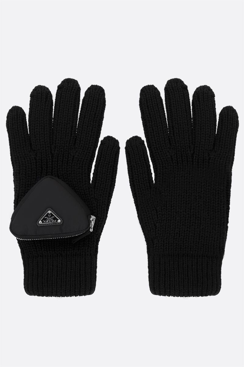 PRADA: triangular compartment-detailed wool gloves Color Black_1