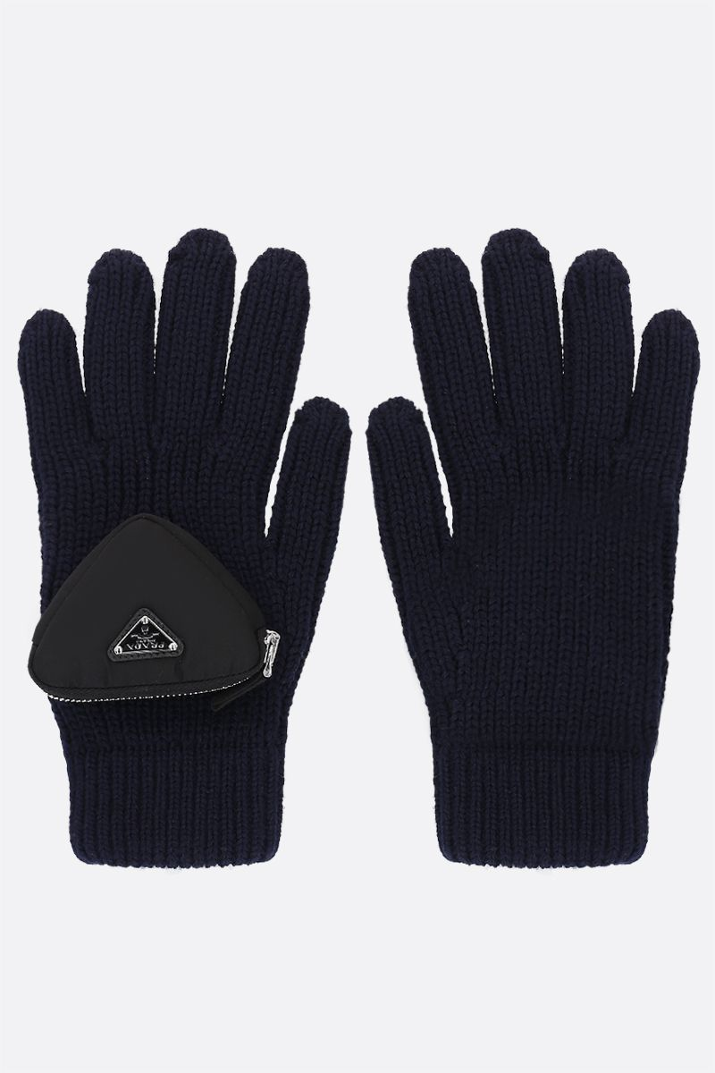 PRADA: triangular compartment-detailed wool gloves Color Blue_1