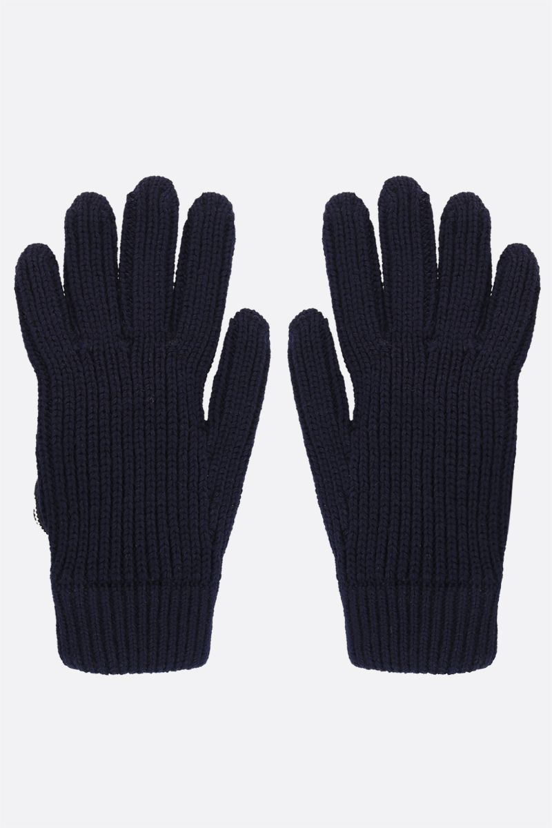 PRADA: triangular compartment-detailed wool gloves Color Blue_2