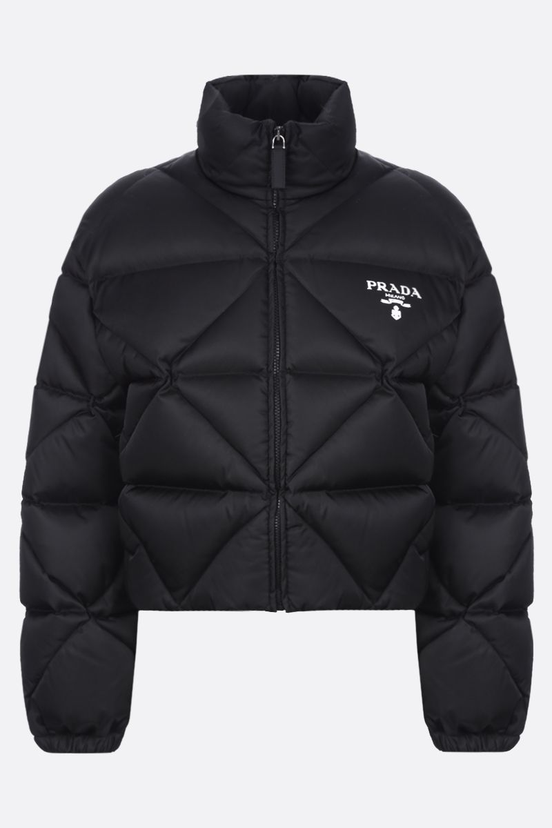 PRADA: logo-detailed quilted Re-Nylon down jacket Color Black_1