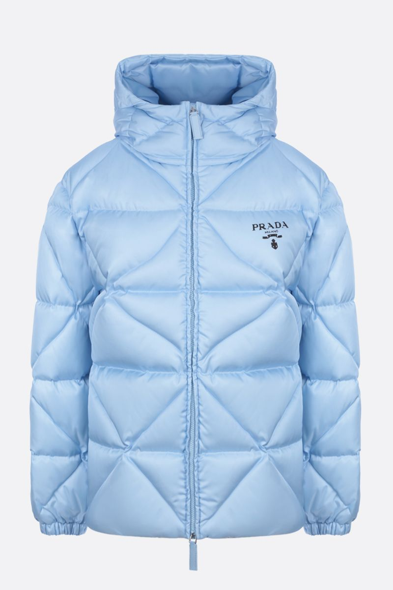PRADA: logo-detailed oversize quilted Re-Nylon down jacket Color Blue_1