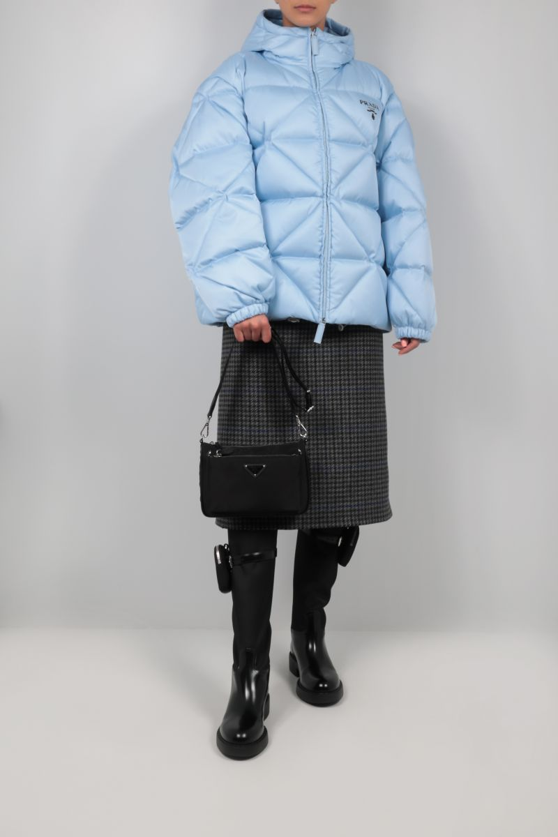 PRADA: logo-detailed oversize quilted Re-Nylon down jacket Color Blue_2