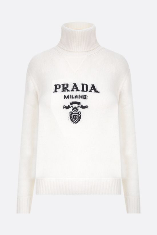 PRADA: logo-detailed wool cashmere blend pullover Color White_1