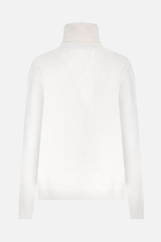 PRADA: logo-detailed wool cashmere blend pullover Color White_2
